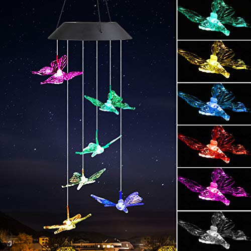 EEEKit Butterfly Solar Wind Chimes, Solar Powered Windchime Color-Changing Led Hanging Lamp Light Wind Chime for Outdoor Indoor Gardening Yard Pathway Decor]()