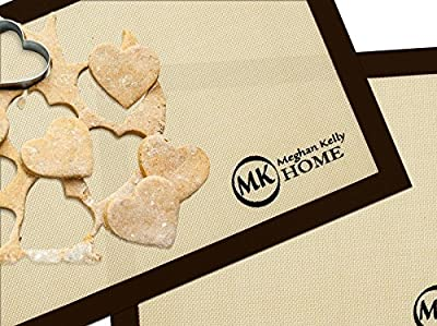 "Non-Stick Silicone Baking Mat Set (2 -16.5"" x 11.75""), Superior to Parchment Paper Sheets or Oil"