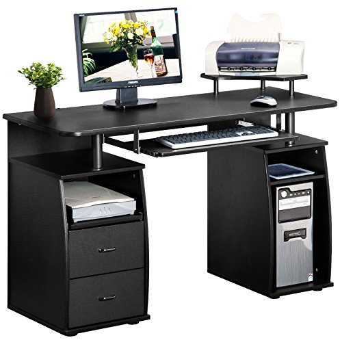 Merax Essential Home Office Computer Desk with Pull-Out Keyboard Tray and Drawers (Black NO.1) by Merax