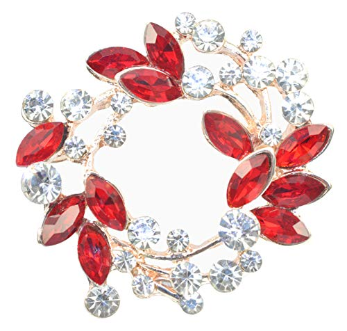 Gyn&Joy Rhinestone Crystal Leaf Wedding Flower Wreath Brooch Pin BZ005R
