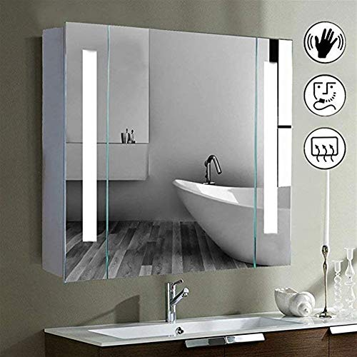GT.S 650mm(W) x 600mm(H) Led Illuminated Bathroom Mirror Cabinet with Demister Shaver -