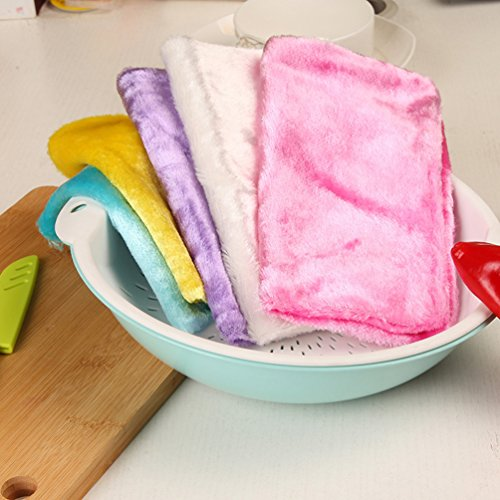 AODEW Kitchen Dish Rags Clean Rags Weave Dish Cloths Hand Towel Washing Rags Towel Wood Fiber Double Thick Dish Cloth by AODEW (Image #5)