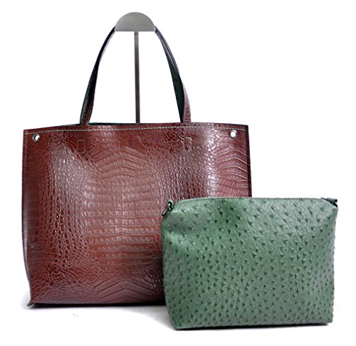 Chocolate Crocodile Faux Leather (Patrizia Luca Classic Reversible Alligator and Ostrich 2 in 1 Tote, Brown and Green)