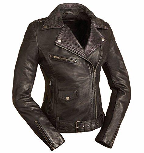 First Mfg Co Women's Iris Leather Motorcycle Jacket (Black, Medium)