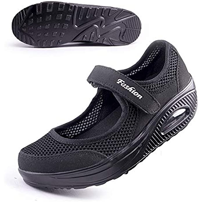 Women's Comfort Working Nurse Shoes Adjustable Breathable Wedges Slip-on Walking Sneaker Fitness Casual Shoes Mary Jane Sneaker