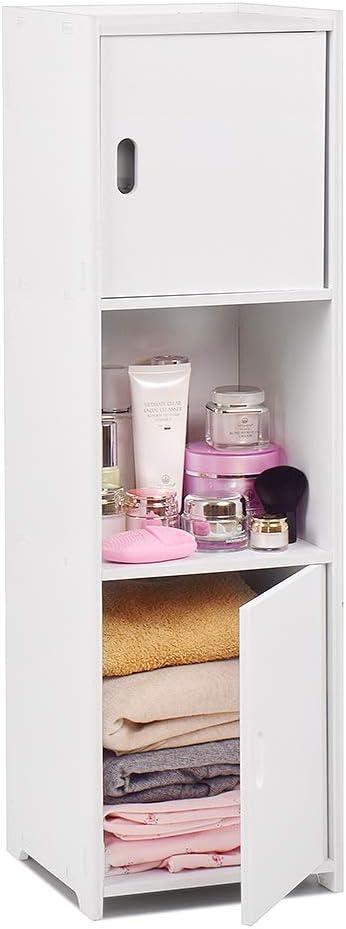 aimu Waterproof Bathroom Cabinets,White Bathroom Storage Shelf Organizer Cupboard for bathroom,kitchen,hallway and bedroom(Shiny Style) (Shiny Style)