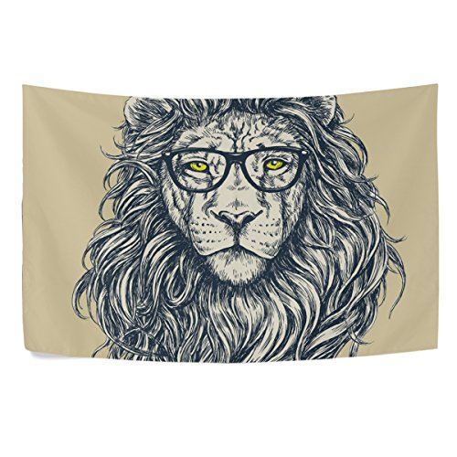 Sunlome Forest Lion King Home Decor, Hipster Lion Tapestry Wall Decor Art for Living Room Bedroom Decoration 80 X 60 Inches