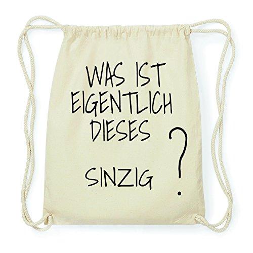 JOllify SINZIG Hipster Turnbeutel Tasche Rucksack aus Baumwolle - Farbe: natur Design: Was ist eigentlich