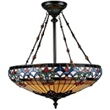 Quoizel TF1781VB Belle Fleur 28-Inch Pendant with Four Uplights - Vintage Bronze Finish