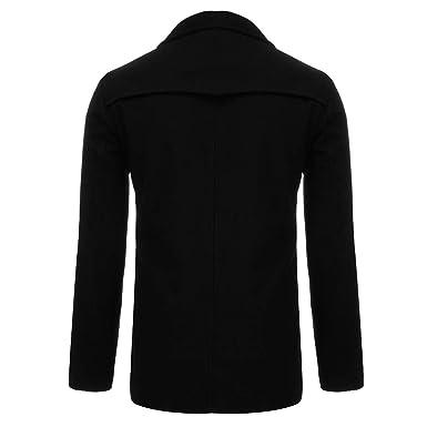3b9932dc19c Toimothcn Men s Trench Coat Winter Warm Pea Coat Slim Fit Lapel Button  Jacket(Black