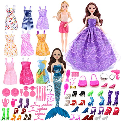 bie Doll Clothes Set included 12 Pack Barbie Clothes Party Gown Outfits and 60pcs Varies Barbie Doll Accessories ()
