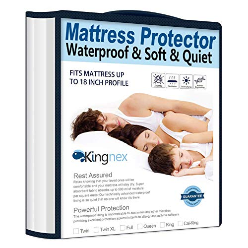 (Kingnex Waterproof Bamboo Mattress Protector Queen Size Hypoallergenic Breathable Fitted Mattress Cover)