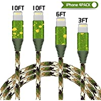 Lightning Cable,Vinpie iPhone Cable 4Pack 3FT 6FT 10FT 10FT Nylon Braided Cord Lightning Cable,USB Cord Charging Charger for iPhoneX/8/8Plus,7/7 Plus,6/6S/6 Plus/6S Plus,5/5S/5C/SE,iPad,iPod and More