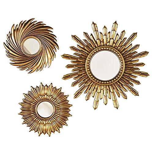 Sunburst Mirror Wall Decals - Set Of 3, Gold (Accent Sunburst)