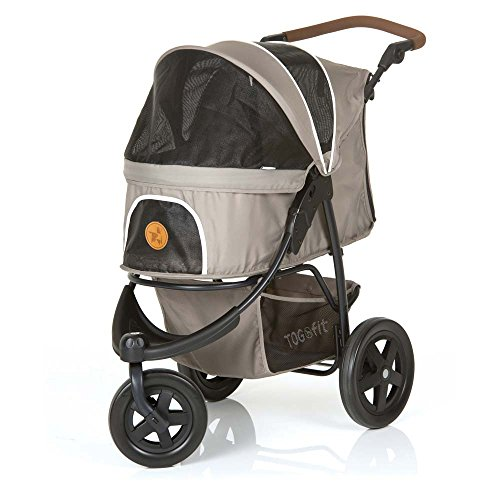 TOGfit Pet Roadster - Luxury Pet Stroller for Puppy, Senior Dog or Cat | Easy Foldable Three Wheels Travel Pet Jogger max. Loading 70 lb, Mattress Included - Gray (Best Large Dog Stroller)