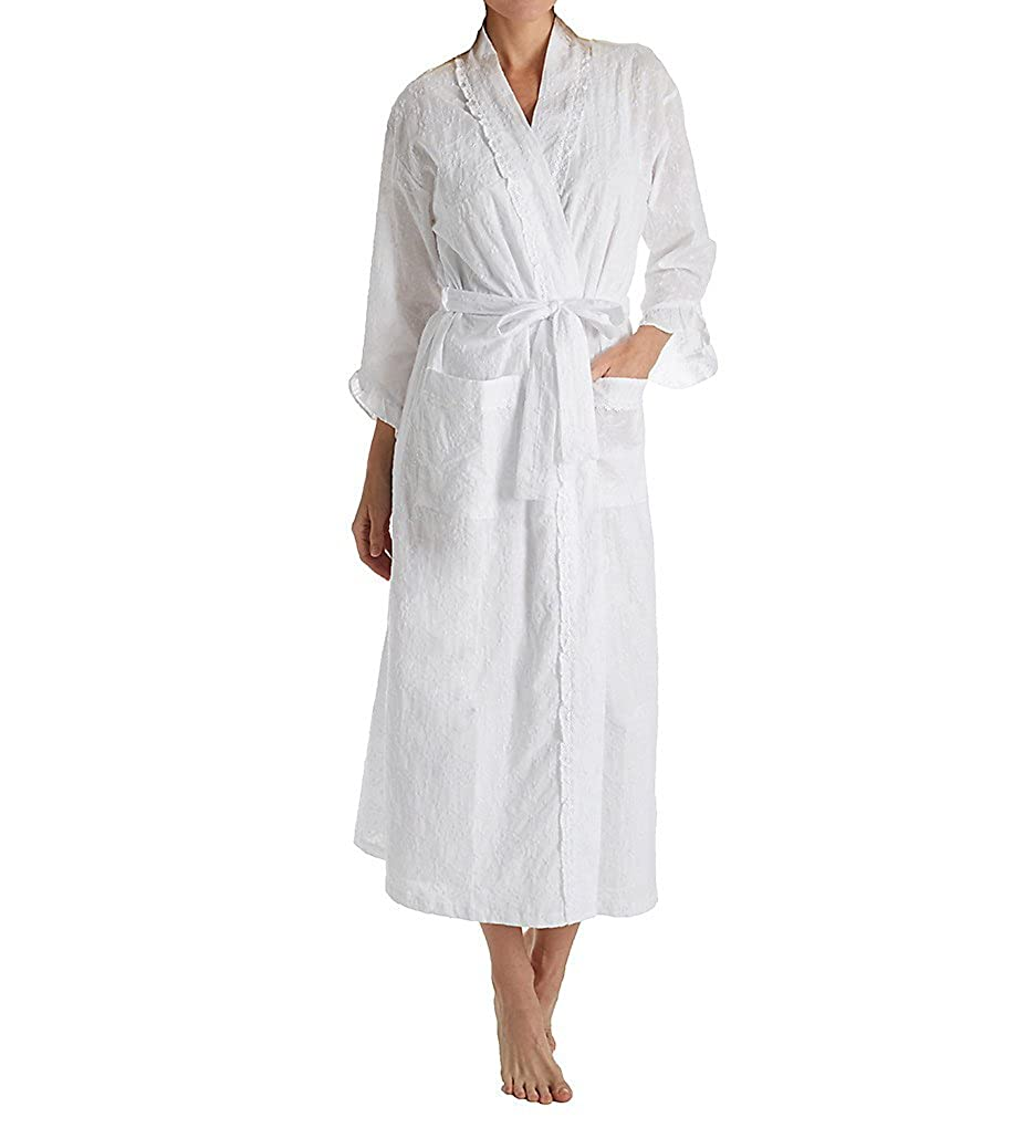 f001e038bb Eileen West Floral Embroidery Ballet Wrap Robe (5919853) S M Floral  Embroidery at Amazon Women s Clothing store