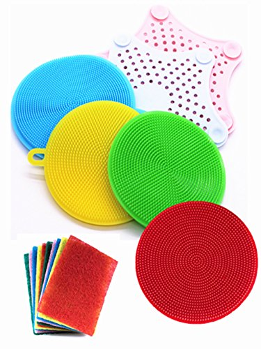 Silicone Dish Washing Brush, Scrubber Sponge,Starfish Silicone Sink Filter,Multipurpose Kitchen Cleaning Sponges For Pot, Pan, Fruit and Vegetables Kitchen Tool Set (8 Pack)