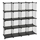 SONGMICS Metal Wire Cube Storage,16-Cube Shelves Organizer,Stackable Storage Bins, Modular Bookcase, DIY Closet Cabinet Shelf, 48.4'L x 12.2'W x 48.4'H, Black ULPI44H