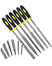 KALIM Needle File Set, 6Pcs Wood Rasp with Soft Rubberized Handle, Hardened Alloy Strength Steel Mini Needle File for Wood, Plastic and Other Soft Objects