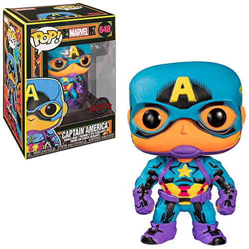 Funko- Pop Marvel Black Light Captain America Juguete Coleccionable, Multicolor (488
