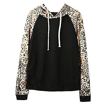 5442d72b16f Forthery Clearance Women Hoodie Sweatshirt Leopard Long Sleeve Warm Winter Coat  Jacket(Black