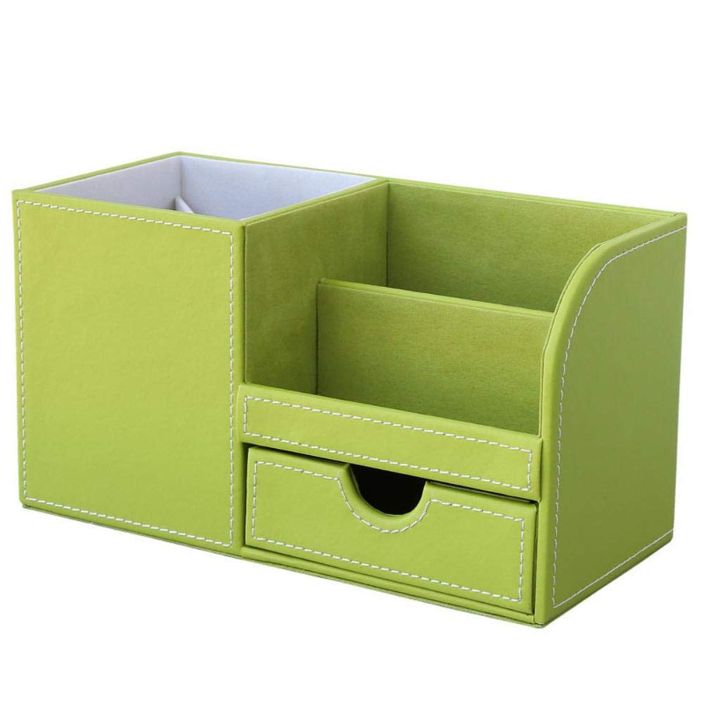 Naranja Porta bol/ígrafos de cuero,escritorio de caja de almacenamiento de escritorio multifuncional creativo Ikavee papeler/ía de oficina