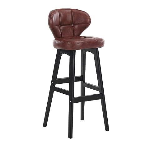 Fabulous Amazon Com Liqicai Wooden Bar Stool With Faux Leather Backs Machost Co Dining Chair Design Ideas Machostcouk