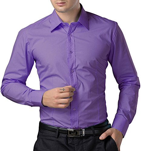 Paul Jones®Men's Shirt Men's Slim Fit Solid Spread Collar Dress Shirt (XL) CL1044-6 Purple