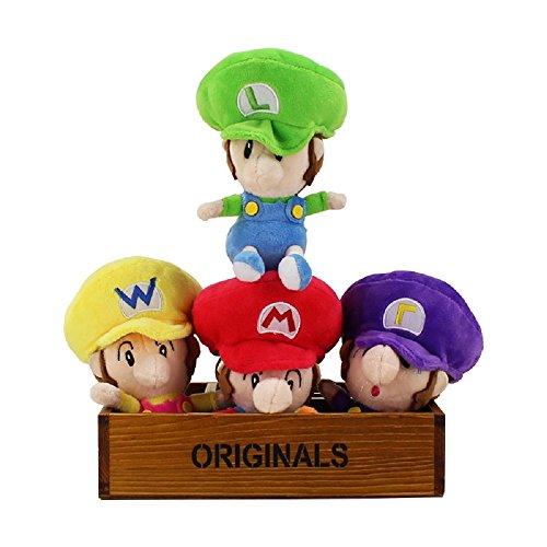 Super Mario Bros Baby Plush Toy PlayFun MARIO LUIGI Waluigi Wario Soft Stuffed Doll Toys Kawaii (4pcs Lot)