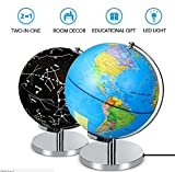 Interactive Globe for Kids, 2-in-1 Illuminated World Globe with World Map and Constellation Map, Best Christmas Gifts for Boys and Girls