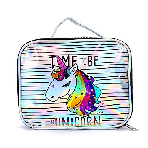 Jax & Olivia - Unicorn Makeup Bag - Unicorn Makeup Bag - Girls Cosmetic Bag - Girls Makeup Bag (Holographic Time to Be Unicorn Makeup Bag)