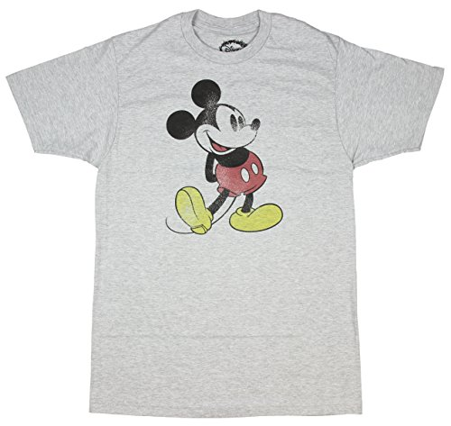 Disney Classic Mickey Mouse Distressed Print T-shirt (Large,Heather Grey) (Disney Clothing For Adults)