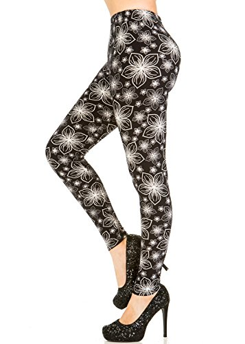 Plus Sparkle (Best Selling Premium High Waist Printed Brushed Leggings - Regular and Plus Size - (Sparkle Garden, Small / Medium))