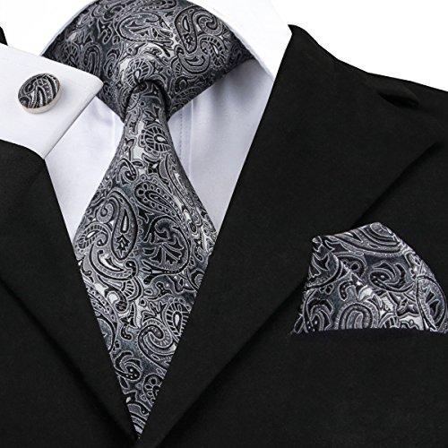 Hi-Tie Men Black Grey Paisley Stripes Floral Tie Necktie with Cufflinks and Pocket Square Tie Set (Grey Paisley Tie)
