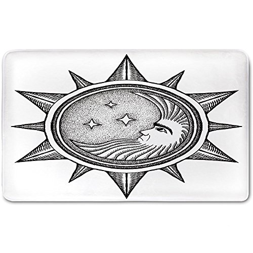 Memory Foam Bath Mat,Occult Decor,Moon inside the Sun with Stars Alchemy Clandestine Esoteric Solar Crescent ArtPlush Wanderlust Bathroom Decor Mat Rug Carpet with Anti-Slip Backing,Black Grey by iPrint