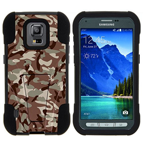 TurtleArmor | Samsung Galaxy S5 Active Case | G870 [Gel Max] Impact Proof Cover Hard Kickstand Hybrid Fitted Shock Silicone Shell Military War Camo Design - Army Camouflage