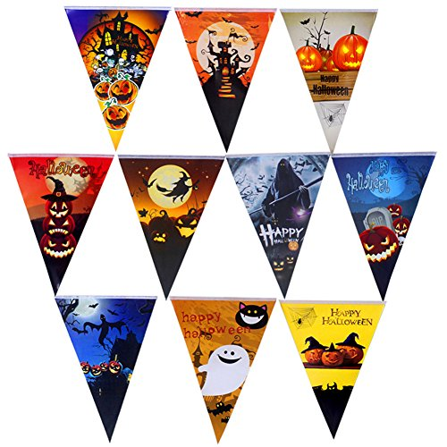 AFSTUP Halloween Decorations 10 Packs Triangle Flag Banner, Each 8.2 Feet Paper Pumpkin Pennant Banner Flags for Party Decor String (Halloween 2017 Party Chicago)