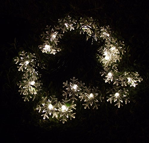 indoor & outdoor Solar string lights 5M 20 LED Fairy String Lights snowflake styled for Christmas, Partys, Wedding, gardens, patio Décor (Warm White)