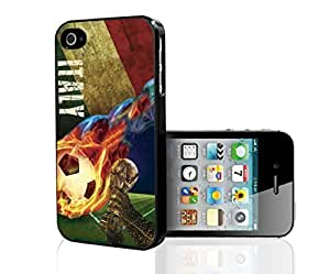 Green, Red, and White Grunge Italy Soccer Team Flag with Colorful Fiery Soccer Ball Hard Snap on Phone Case (iPhone 5/5s) by icecream design