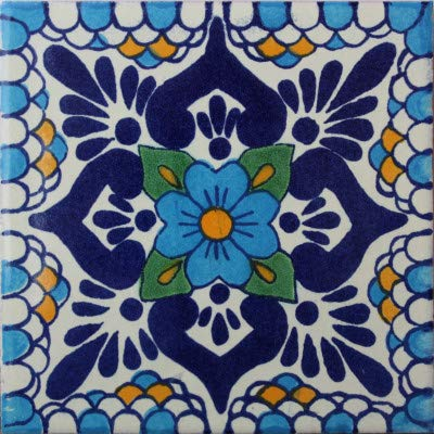 Fine Crafts Imports 6x6 4 pcs Montijo Talavera Mexican Tile (Clay Spanish Tile)
