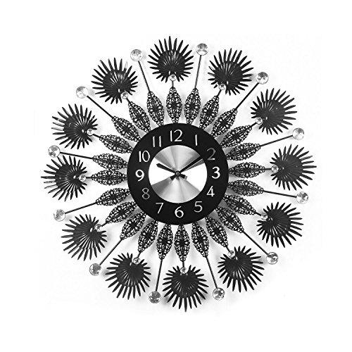@Home Palm Iron Wall Clock (5.52 cm x 60 cm x 60 cm, Black)