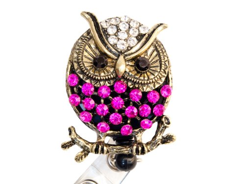 Rhinestone Owl Retractable Badge Reel/ Bling ID Badge Holder (Hot Pink)