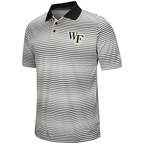 Colosseum Wake Forest University Men's Polo Striped Performance T-Shirt (XX-Large) (Striped Collegiate Polo)