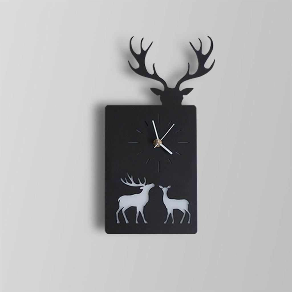 Unbekannt CHENGYI Wandlampe, Moderne Einfache Kreative Wandleuchte Uhr Nordeuropa Wohnzimmer Schlafzimmer Studie Kinderzimmer LED Tier Dekoration Nachtlicht (Farbe : Schwarz, Design : Elch)