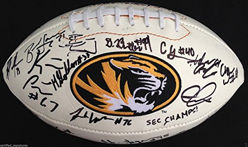 2014-15 MISSOURI TIGERS TEAM SIGNED FOOTBALL MATY MAUK GOLDEN SHANE RAY PROOF K3