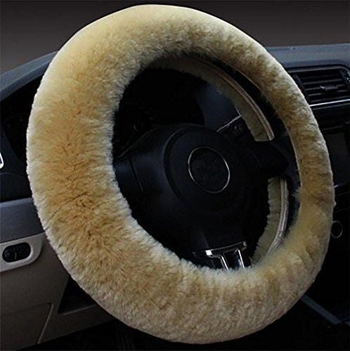RUIRUI Winter Warm Wool Steering Wheel Cover , Beige