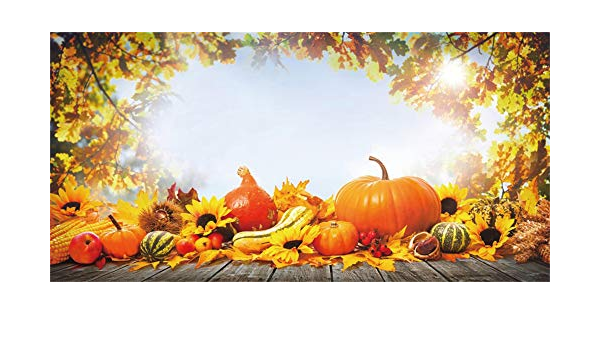 Leowefowa Thanksgiving Day Backdrop for Photography 12x10ft Rustic Retro Wood Texture Plank Pumpkins Apple Maple Leaves Vinyl Harvest Festival Background Child Adult Photo Shoot Autumn Wallpaper
