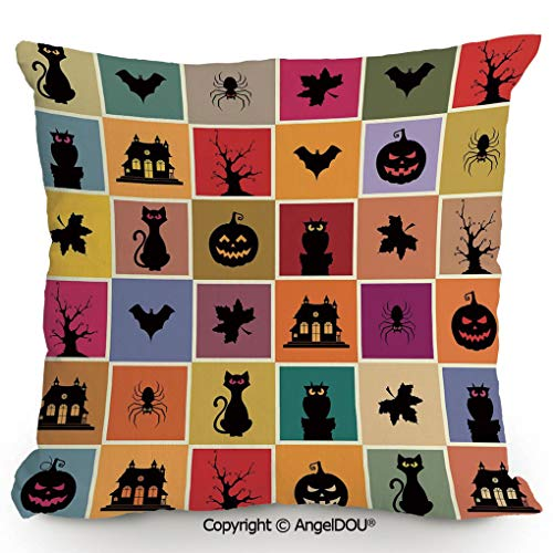 AngelDOU Fashion Retro European and American Sofa Pillow 15.7x15.7 Inch Bats Cats Owls Haunted Houses in Squraes Halloween Themed Darwing Art Decorative Office nap Pillow Pillow cushionMulticolor ()