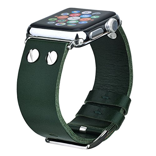 VIGOSS Compatible Genuine Leather Watch Band Strap Men Women Replacement for Apple Watch Series 3 Series 2 Series 1 Sport Edition (Green, 42mm)
