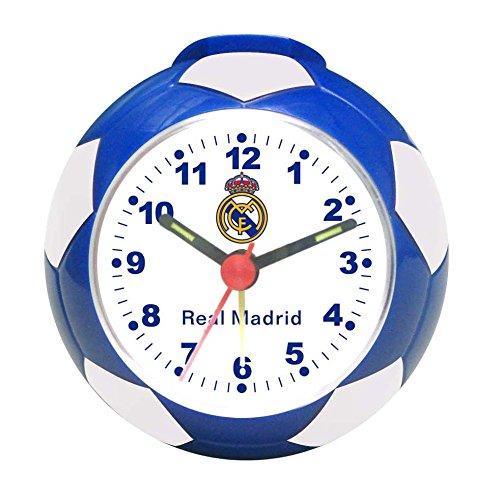 Full 90 Real Madrid (Real Madrid) - Reloj Despertador Oficial de balón de fútbol (Azul)
